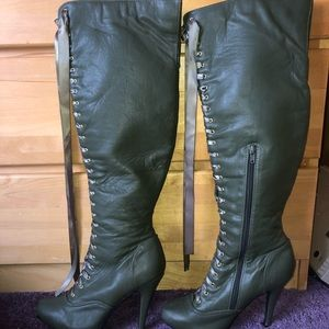 Lace Up Knee High, Heeled Boots (Olive)